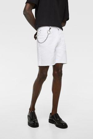 Zara Men Bermudas - Denim bermuda shorts with chain