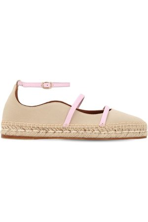 MALONE SOULIERS Women Casual Shoes - 20mm Selina Cotton & Leather Espadrilles