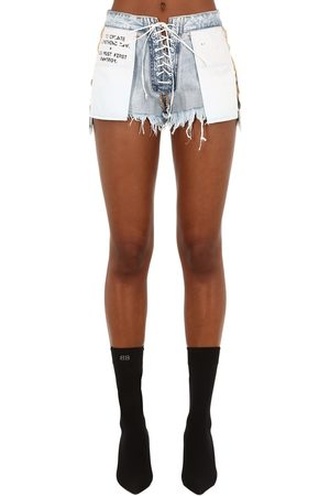 UNRAVEL Stone 10 Reverse Lace-up Denim Shorts