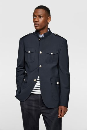 Zara Buttoned blazer with stand-up collar