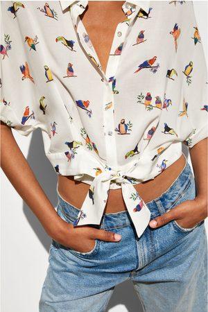 Zara Printed cropped shirt