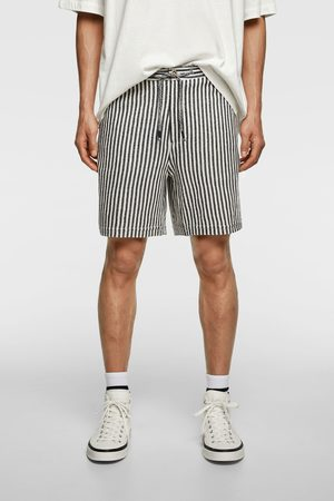 Zara Striped textured weave bermuda shorts