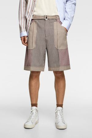 Zara Check patchwork bermuda shorts