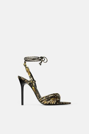 54096406640 Zara High-heel sandals with animal print straps