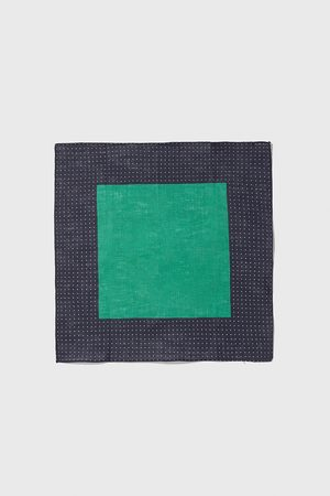 Zara Polka dot pocket square with border