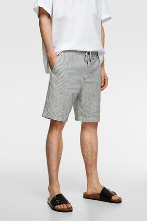 Zara Men Bermudas - Striped textured weave bermuda shorts