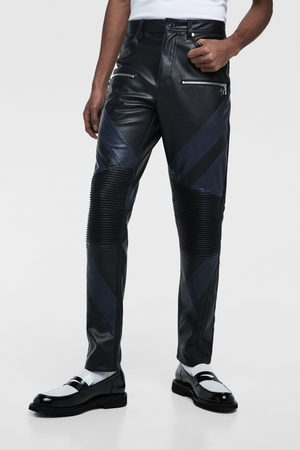 Zara Men Leather Trousers - Colour block faux leather biker trousers
