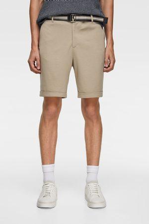 Zara Men Bermudas - Belted bermuda shorts