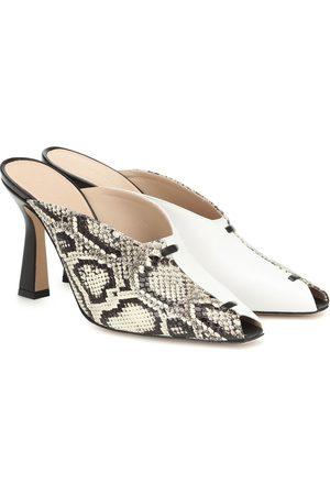 Wandler Women Flats - Niva snake-effect leather mules