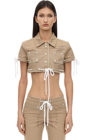 Courrèges Cropped Cotton Jacket W/ Studs