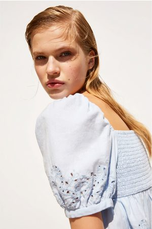 Zara Women Tops - Embroidered top with knot detail