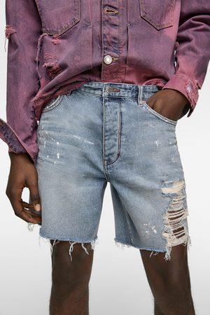 Zara Paint splatter denim bermuda shorts
