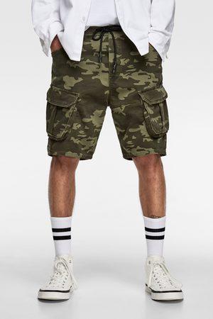 Zara Soft denim camouflage bermuda shorts