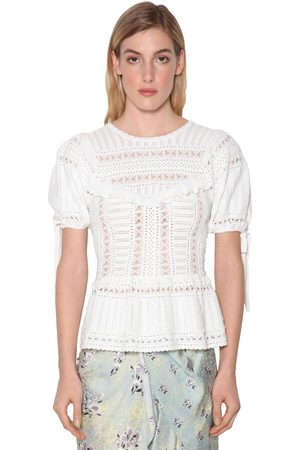 Self-Portrait Ivory Techno Knit Lace Top