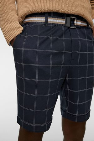 Zara Men Bermudas - Check bermuda shorts with belt