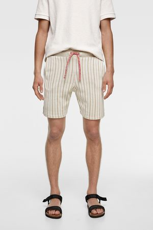 Zara Striped textured bermuda shorts