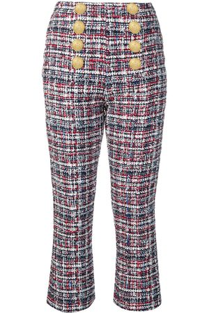 Balmain Women Trousers - Button-front tweed trousers