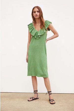 Zara Textured weave dress with ruffle trim