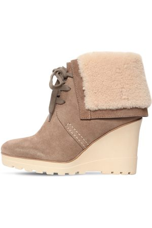 See by Chloé 90mm Rachel Suede & Fur Ankle Boots