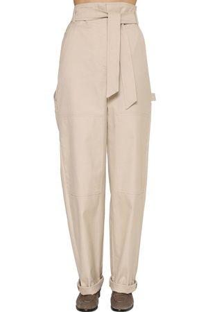 Max Mara Wide Leg Cotton Canvas Pants