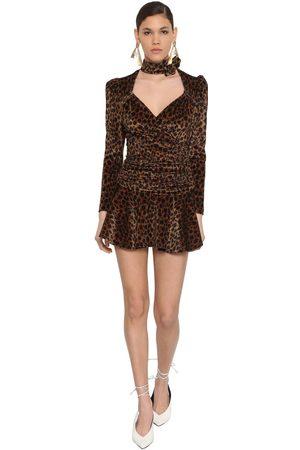 ATTICO Print Stretch Velvet Mini Dress