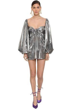 ATTICO Metallic Jersey Mini Dress W/ Bow