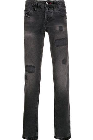 Philipp Plein Men Straight - Distressed straight-leg jeans