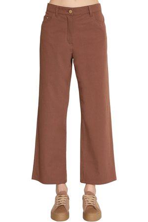 Max Mara Straight Leg Cotton Canvas Pants