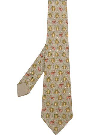 Hermès Pre-owned leaves & deer print tie