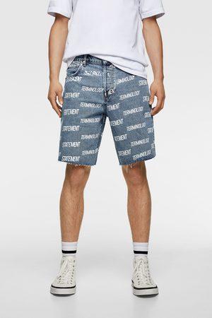 Zara Denim bermuda shorts with slogan