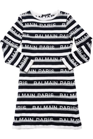 Balmain Logo Jacquard Cotton Blend Knit Dress
