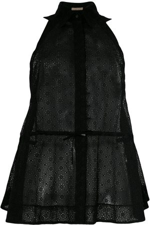 Alaïa Women Tank Tops - 2017 sheer drawstring sleeveless shirt
