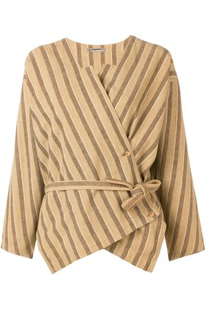 Issey Miyake Women Shirts - Striped wrap blouse