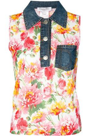 Dior Women Vests - 2000s pre-owned denim collar floral vest