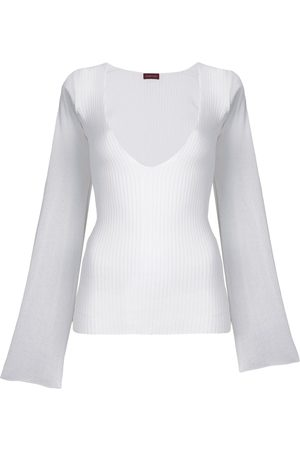ROMEO GIGLI Deep neck ribbed blouse