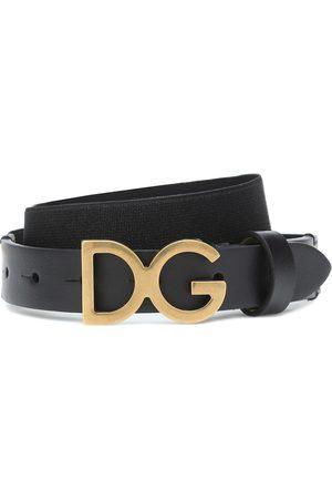 Dolce & Gabbana Girls Belts - Logo leather-trimmed belt