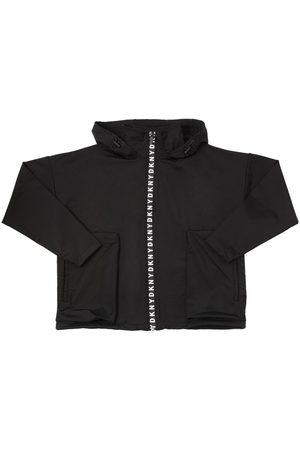 DKNY Hooded Nylon Jersey Sweatshirt