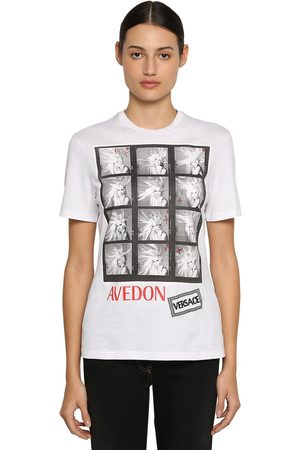 VERSACE Women T-shirts - Printed Cotton Jersey T-shirt