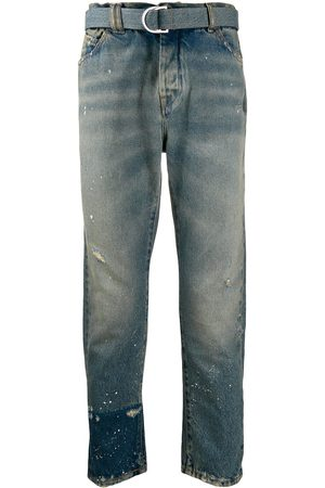 OFF-WHITE Men Straight - Distressed straight-leg jeans