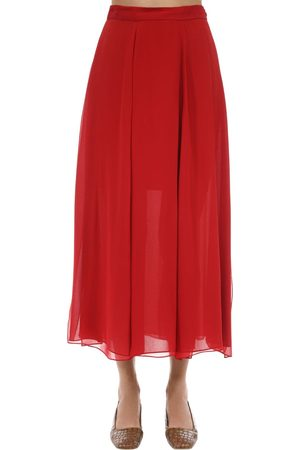 Max Mara Women Midi Skirts - Layered Silk Crepe Midi Skirt