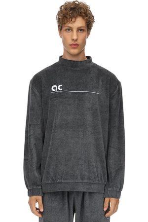 APPLECORE Men Tops - Logo Cotton Blend Velvet Top W/back Zip