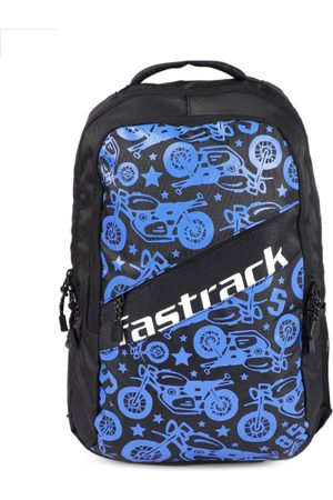 Fastrack Men Black & Blue Graphic Backpack