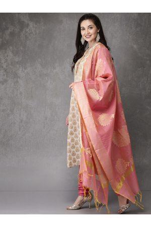 Anouk Women Beige & Pink Self Design Kurta with Churidar & Dupatta