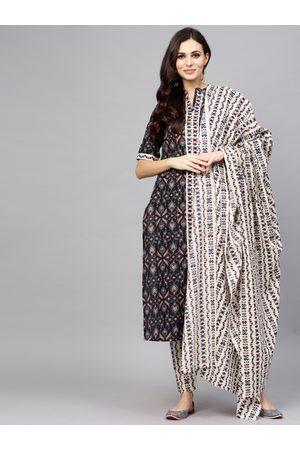 AKS Women Black & Off-White Printed Kurta with Trousers & Dupatta