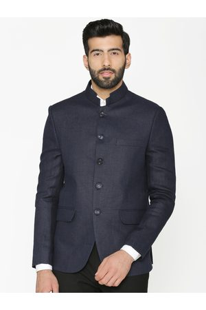 Wintage Men Blue Solid Tailored-Fit Linen Bandhgala Blazer