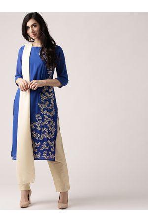 IMARA Women Blue & Beige Printed Kurta with Trousers & Dupatta