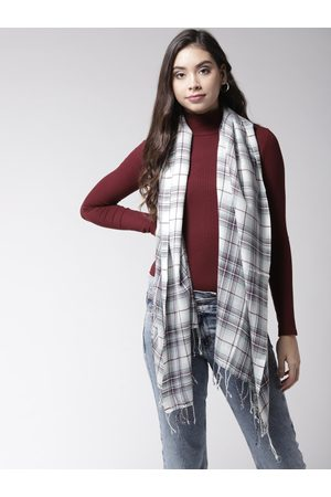 Style Quotient Styled Quotient Women White & Burgundy Checked Shawl