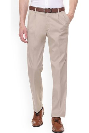 Allen Solly Men Formal Trousers - Men Beige Regular Fit Solid Formal Trousers
