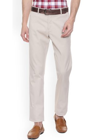 Allen Solly Men Off-White Regular Fit Solid Formal Trousers