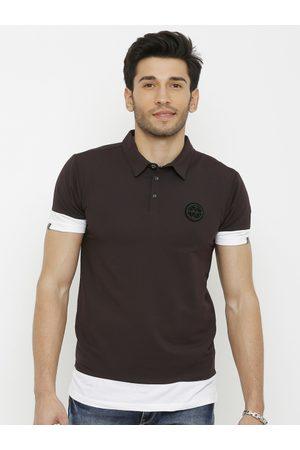 Rex Straut Men Brown & White Colourblocked Polo Collar T-shirt
